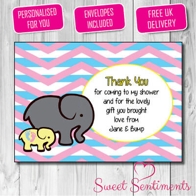 Personalised Girl Or Boy Thank You baby Elephant Shower New Baby Cards - 12