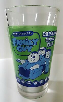 FAMILY GUY Official Drinking Game FUNNY Printed Pint Glass Tumbler 16 oz  MINT