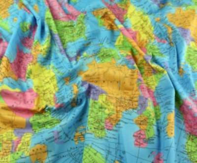 World map globe 100 cotton fabric material by half metre w 55 world map globe 100 cotton fabric material by half metre w 55 gumiabroncs Images