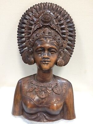 Vintage Balinese Hand Carved Ornate Young Wooman Bust