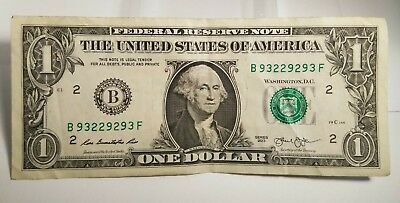 $1 One Dollar Bill 2013 Fancy Trinary Repeater Bookend Serial Number 93-2292-93