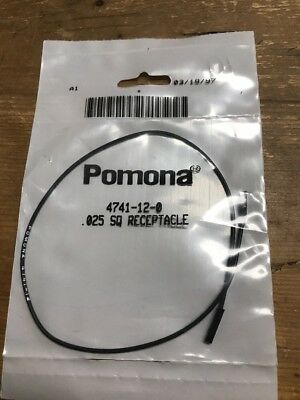 "Pomona 4741-12-0 0.025"" Square Pin Receptacle Patch Cord, 12"" Length, Black"