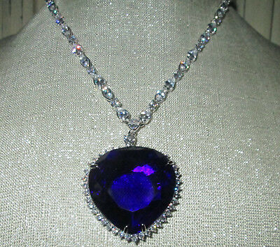 New STUNNING Blue Large Crystal Heart of the Ocean Titanic Proportions NECKLACE!