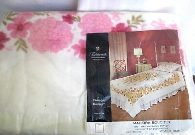 VTG 50s 60s..SOFT..100% COTTON..PINK FLOWERS..BLANKET..NEW OLD STOCK..USA..72X90
