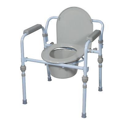 Drive Medical Folding Bedside Commode Seat with Commode Bucket and Splash