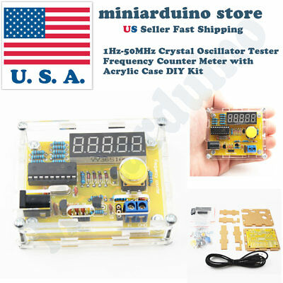 1Hz-50MHz Crystal Oscillator Tester Frequency Counter Meter with Acrylic Case US