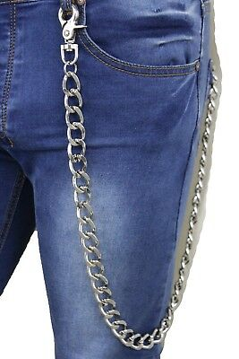 Men Women Silver Metal Extra Long Wallet Chain Heavy Biker Thick Links Strong