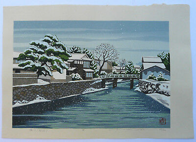 Large Ltd Edd Signed Japanese Woodblock Print Masao Ido Gion Canal Under Snow