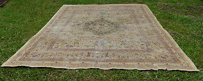 BEAUTIFUL GENUINE HUGE ANTIQUE  ROOM SIZE  ISFAHAN  PILE RUG 1920's