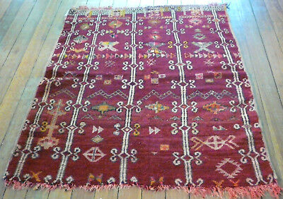 Old Hand Knotted Berber Tribal Nomadic Rug Middle Atlas Mountains Morocco 1950