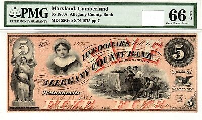 Maryland - Allegany County Bank - $5.00 - 1861 - PMG Gem Uncirculated 66 EPQ!