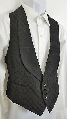 "Vtg Edwardian Vest Mens / Womens Black Silk Faille Waistcoat Collar 38"" Chest  S"