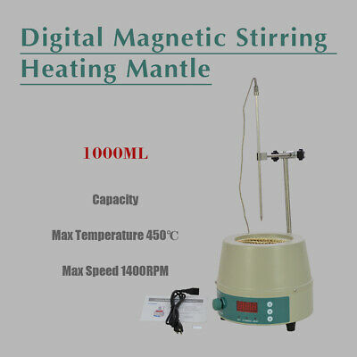 1000ML Electric Digital LCD Magnetic Stirring Heating Mantle 350W New 842℉