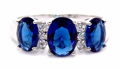 Sterling Silver Blue Sapphire And Diamond 2.16ct Ring (925) Size 7 (N) qzR7Ci4