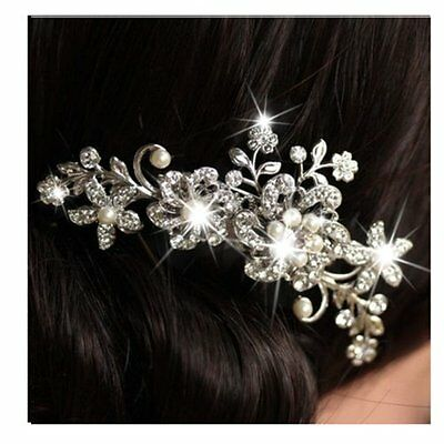 Bridal Wedding Flower Leaf Pearl Crystal Rhinestone Hair Comb Hair Accessories