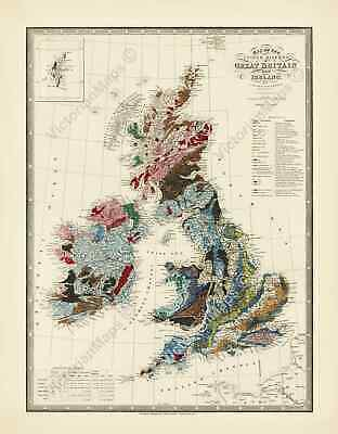 UK Great Britain Ireland antique Victorian geological map J Wyld 1844 art poster