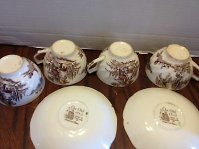 JOHNSON BROS The Old Mill Cups Saucers x 4