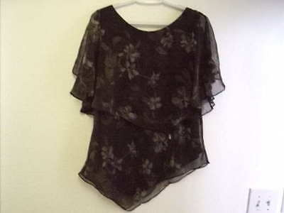 Coldwater Creek Polyester Green Gray Purple Black print Blouse and Skirt Set