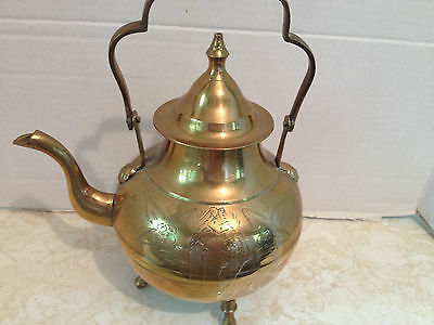 Vintage Brass Tea Kettle with Detailed Scrolling Design