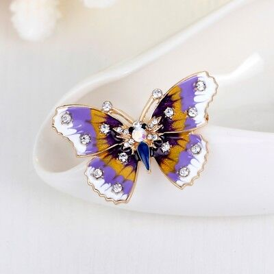 Alloy Rhinestone Butterfly Shape Brooch Women Jewelry Gift Garment Decoration