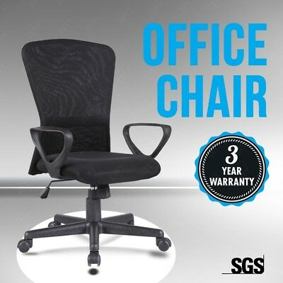 Executive Mesh Chair Swivel Mid-Back Office Chair Ergonomic Computer Desk Black