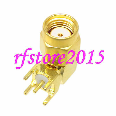 1pce Connector RP-SMA male jack solder PCB mount  RF COAXIAL Right angle