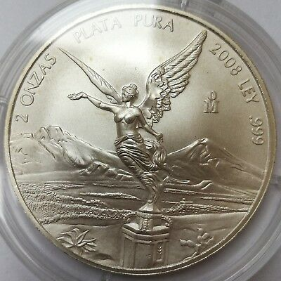 2008 Libertad Mexico Silver Coin 2 Oz .999 Silver Goddess Of Victory #3