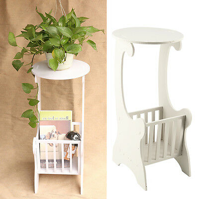 White Wooden Chic Side Lamp Small Round Coffee Table Magzine Rack Bedroom