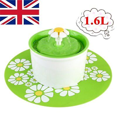 Flower Shape Automatic Electric Pet Cat Dog Water Drinking Fountain Bowl Filter