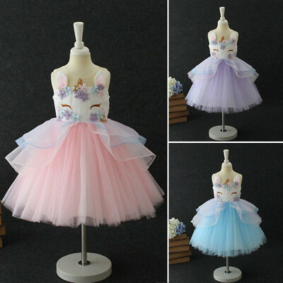 Boutique Flowers Kids Girls Unicorn Pageant Party Formal Chiffon Tutu Dress UK