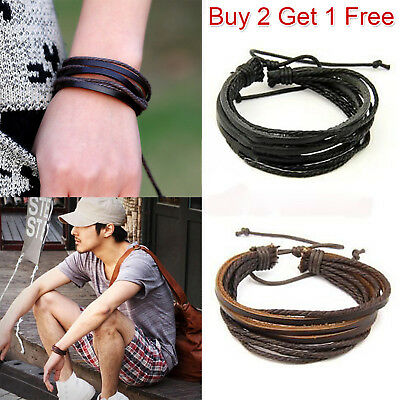Men Boys Handmade Leather Braided Surfer Wristband Bracelet Bangle Wrap
