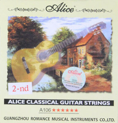 10pcs Alice A106 Clear Nylon Second 2nd B Classical Guitar Strings (.0325 inch)
