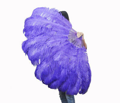 """violet XL 2 layers Ostrich Feather Fan 34"""" x 60"""" with leather Travel Bag"""