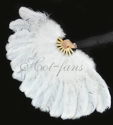 """White 27"""" x 53"""" Marabou & Ostrich feathers fan with leather Travel Bag"""