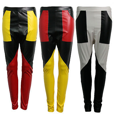 Womens PU Faux Leather Skinny Shiny Contrast Colour Leggings Trousers Pants