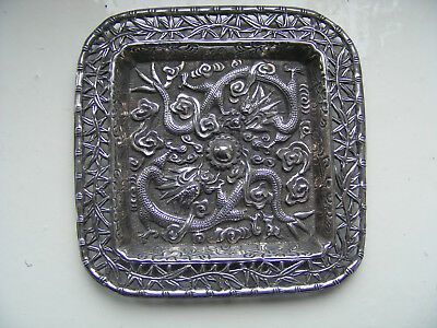 "Superb Small Solid Silver Chinese Pierced Dragon Tray C1900. 3.5"". N/R"