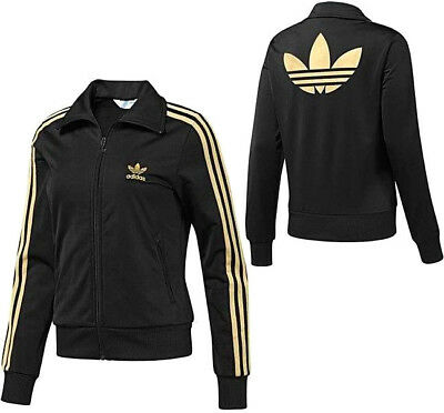 ADIDAS FIREBIRD TT Damen Jacke Trainingsjacke Tracktop Jacket retro  schwarz/gold