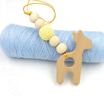 Hot Natural Organic Wooden Teether Baby Teething Toy Necklace DIY Ring Giraffe