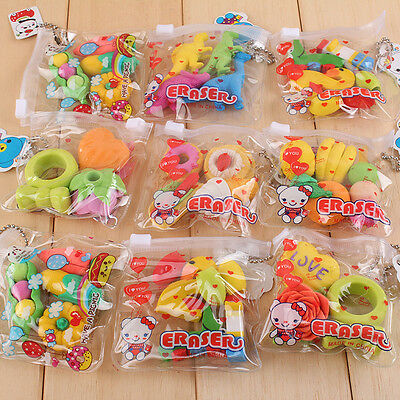 1 Pack Cute Food Rubber Pencil Eraser Set Novelty Stationery Kids Gifts