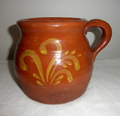 "Redware Pottery Jug 6 1/2"" High Hand Thrown & Decorated Applied Handle No Marks"