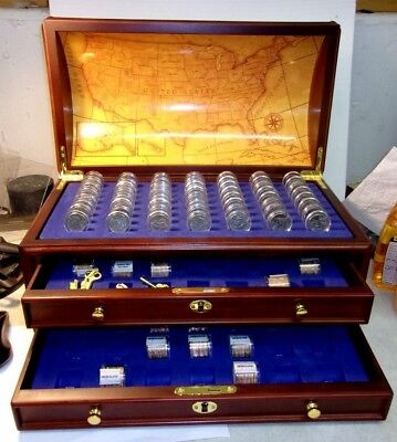 1999 Uncirculated 50 State Quarter Set + 6 In Wood Chest Danbury Mint REDUCED!