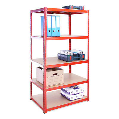 5 Tier Red Deep Garage Metal Heavy Duty Shelving Racking Storage 180 x 90 x 60cm