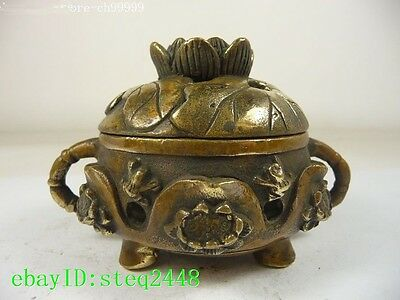 superb china old collectible copper handwork incense burner carved frog NR