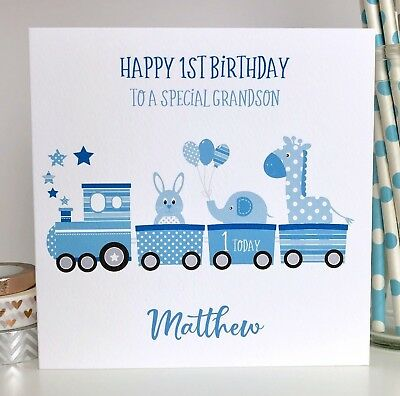 Personalised 1st Birthday Card Grandson Son Nephew Godson Brother First Train