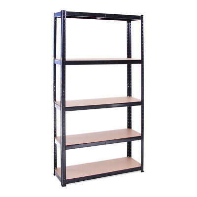 5 Tier Black Metal Shelving Racking Storage Unit 180 x 90 x 30cm - Garage Shop