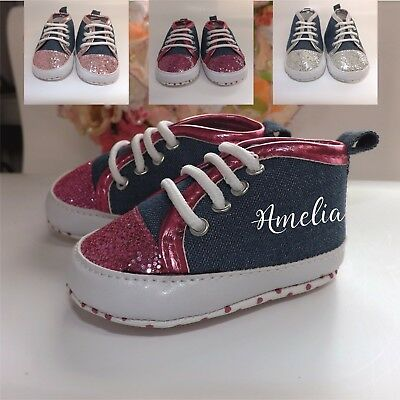 Personalised Baby Girls Denim Glitter Trainers Personalised Baby Booties Shoes