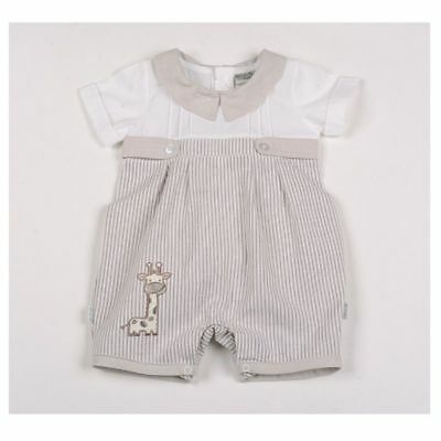 Baby Boys Adorable Spanish Romany Style Beige Stripe Button Romper