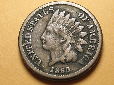 1860 P Type 2 Copper Nickel INDIAN Cent * PHILADELPHIA MINT * ROUNDED BUST