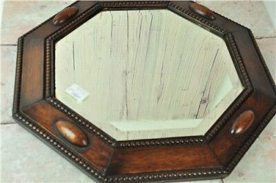 Wooden Octagonal Mirror 20'' Early 1900's