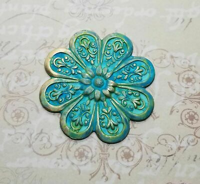2 VPRAT3163 Jewelry Finding Verdigris Patina Flower Stem Leaves